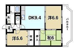 フルーエントV(5) 3階3DKの間取り