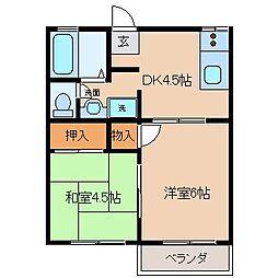 フローラル木花台 3棟[2階]の間取り