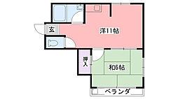 ヴィラグリーン甲子園[1階]の間取り