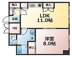 グランヴィ新大阪[9階]の間取り