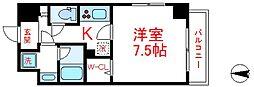 東武伊勢崎線 西新井駅 徒歩15分の賃貸マンション 4階1Kの間取り
