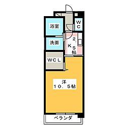 メゾン・セレスティア 4階1Kの間取り