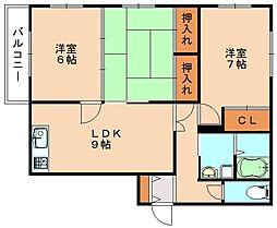 福岡県飯塚市平恒の賃貸アパートの間取り