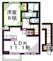 JR中央本線 三鷹駅 バス16分 西原下車 徒歩2分の賃貸アパート 2階1LDKの間取り