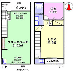 JR山陽本線 網干駅 徒歩32分の賃貸タウンハウス 1階1LDKの間取り