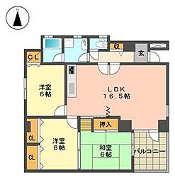 カーサ小井堀[2階]の間取り
