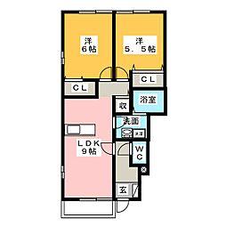 愛知県名古屋市名東区猪子石2の賃貸アパートの間取り