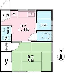 河辺(こうべ)アパート[2階]の間取り