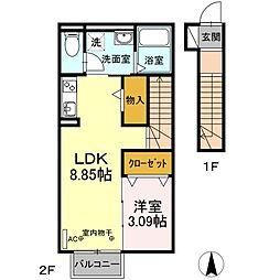 静岡県掛川市南西郷の賃貸アパートの間取り