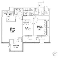 JR山手線 目黒駅 徒歩7分の賃貸マンション 10階3LDKの間取り