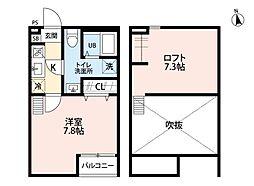 千葉県流山市松ケ丘4の賃貸アパートの間取り