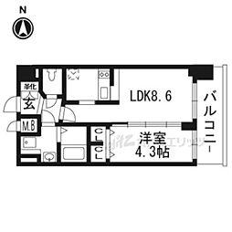 京都市営烏丸線 九条駅 徒歩5分の賃貸マンション 4階1DKの間取り
