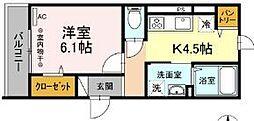 伊豆箱根鉄道大雄山線 小田原駅 徒歩15分の賃貸アパート 3階1Kの間取り