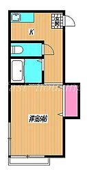 東京都府中市栄町2丁目の賃貸アパートの間取り
