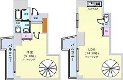Osaka Metro御堂筋線 大国町駅 徒歩4分の賃貸マンション 4階1LDKの間取り