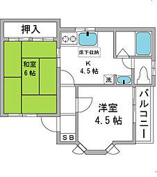 東京都杉並区下井草2丁目の賃貸アパートの間取り