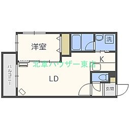 札幌市営東豊線 元町駅 徒歩6分の賃貸マンション 3階1LDKの間取り