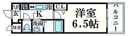 プレサンス THE 神戸 4階1Kの間取り
