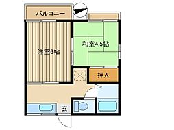 埼玉県和光市白子1丁目の賃貸アパートの間取り