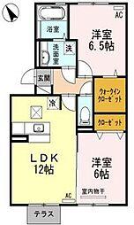 エザンス水呑 B棟[1階]の間取り