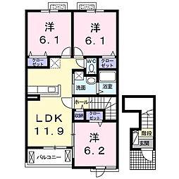 仮)中島田3丁目アパートA[202号室]の間取り