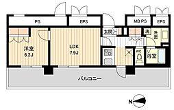 ラクアスレジデンス東新宿[0812号室]の間取り
