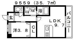 近鉄長野線 喜志駅 徒歩15分の賃貸マンション 1階1LDKの間取り