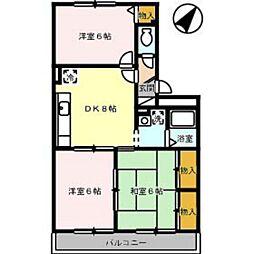 プレミール・ドミ[2階]の間取り