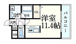 パレス東洋神戸6号館 2階1Kの間取り