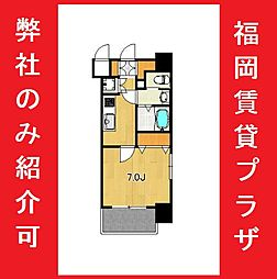 サヴォイ箱崎セントリシティ 12階1Kの間取り