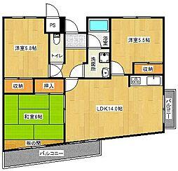 大阪府茨木市並木町の賃貸マンションの間取り