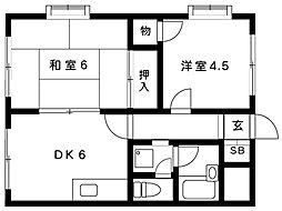 橋本マンション[301号室]の間取り
