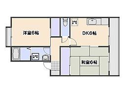 プレジール倉本 B棟[2階]の間取り
