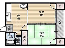 大阪府大阪市都島区都島本通1丁目の賃貸マンションの間取り