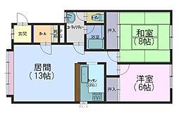 北海道札幌市手稲区前田二条4丁目の賃貸アパートの間取り