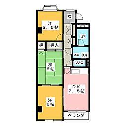 グランドヒルズ一番館B[3階]の間取り