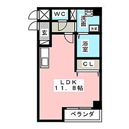Casa Rilassante 2階ワンルームの間取り