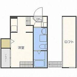 福岡市地下鉄箱崎線 箱崎九大前駅 徒歩17分の賃貸マンション 2階1Kの間取り
