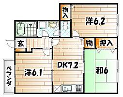 福岡県北九州市若松区用勺町の賃貸アパートの間取り
