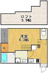 西鉄貝塚線 名島駅 徒歩7分の賃貸アパート 1階2Kの間取り