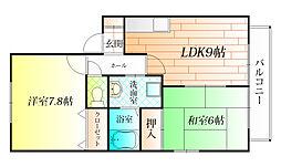 大阪府羽曳野市誉田2丁目の賃貸アパートの間取り