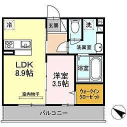 山口県下関市ゆめタウンの賃貸アパートの間取り