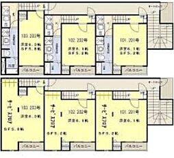仙台市営南北線 北四番丁駅 徒歩6分の賃貸アパート 2階1SKの間取り
