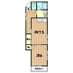 今宿東町アパート[2F号室]の間取り