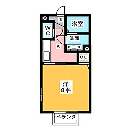 Hana Saku 2階1Kの間取り
