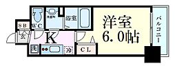 Osaka Metro御堂筋線 西中島南方駅 徒歩4分の賃貸マンション 15階1Kの間取り