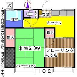 第二篠崎荘[102号室]の間取り