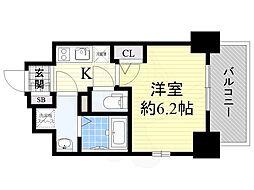 Osaka Metro長堀鶴見緑地線 松屋町駅 徒歩5分の賃貸マンション 12階1Kの間取り