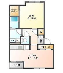 クリスタルガーデンA[2階]の間取り