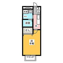 愛知県岡崎市大樹寺2丁目の賃貸アパートの間取り